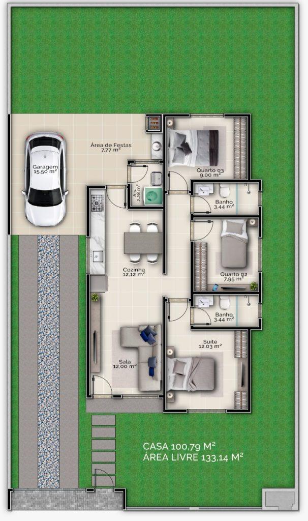 Casa 3 Dorm. – Mata Atlântica